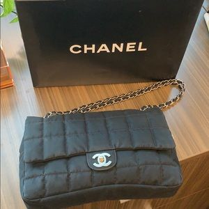 Chanel Black Nylon Flap Bag- Authentic